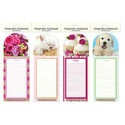 MAGNETIC FRIDGE NOTEPAD & PENCIL SHOPPING LIST KITCHEN New Home CAT DOG FLOWERS