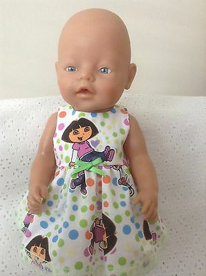 Dolls clothes fits 43cm Baby born/Cabbage Patch Kid - Colourful Dora Dress