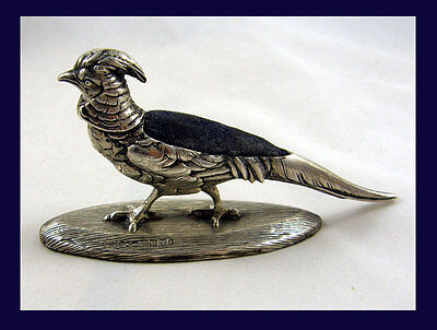 Fabulous Rare Antique Silver Pheasant Pin Cushion Bham 1905 Sampson & Mordan