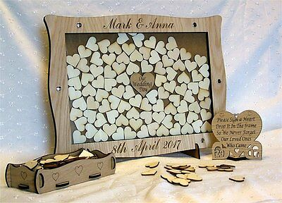 Wedding Anniversary Guest Book Personalised Alternative Drop Box Hearts Oak gg8