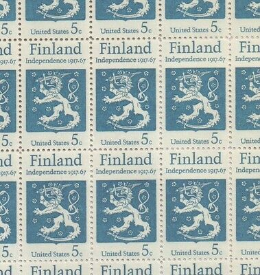 USA 1967 Full Sheet of 5c Finnish Independence 50th Anniversary Stamps MNH