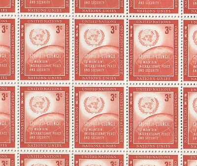 United Nations Full Sheet of MNH Stamps 1957 Security Council 3c Red