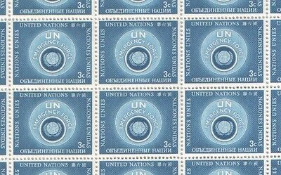 United Nations Full Sheet of MNH Stamps 1957 Emergency Force 3c Blue