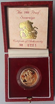 1988 Gold Proof Sovereign Royal Mint Box & C.O.A
