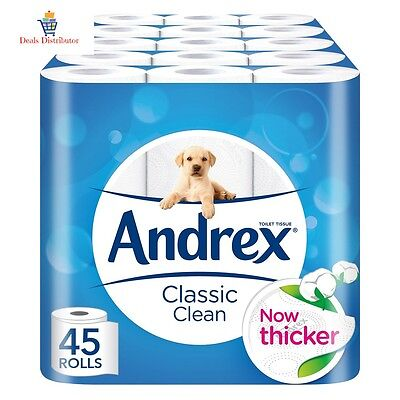 Andrex Classic Clean Toilet Roll Tissue Paper Pack of 45 Rolls Fast DELIVERY