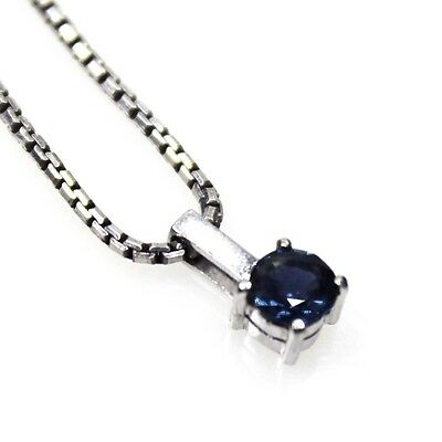 14K White Gold Blue Sapphire 0.5ct Pendant Sterling Chain FREE EXPRESS POST 155