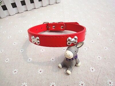 Adjustable Pet/Dog/Cat Leather Style Collar with Bone Shaped Studs -- Red
