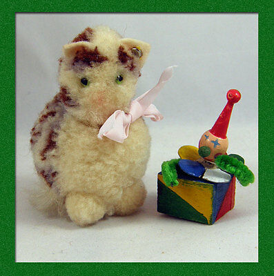 Delightful Tiny Old Steiff Wooly Cat - 1950s