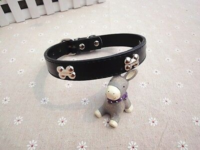 Adjustable Pet/Dog/Cat Leather Style Collar with Bone Shaped Studs -- Black