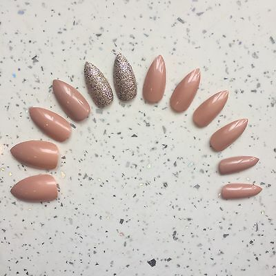 Nude And Gold Glitter Hand Painted Stiletto False Nails (12 Nails)