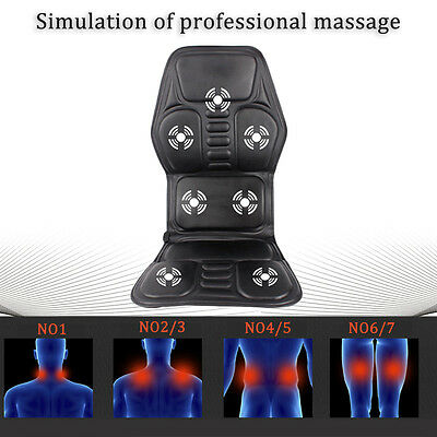 2 IN 1 7 Motor Massaging Back Massager Chair Massage Seat Pad Cushion Car Z#