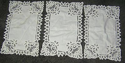 Set 3 Vintage Hand Made White Battenberg Lace Cotton Long Oblong Doilies 40x25cm