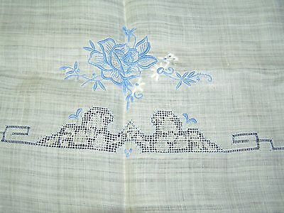 Vintage Hand Embroidered Antique White Sheer Voile Cotton Blue Sq Tablecloth 48""