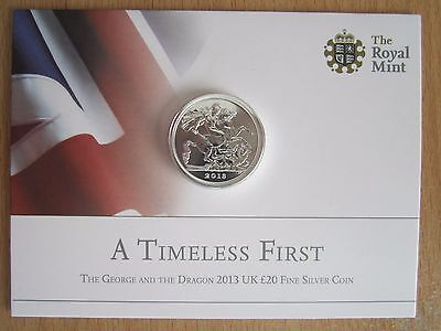 Royal Mint UK Fine Silver £20 Coin - George and the Dragon 2013