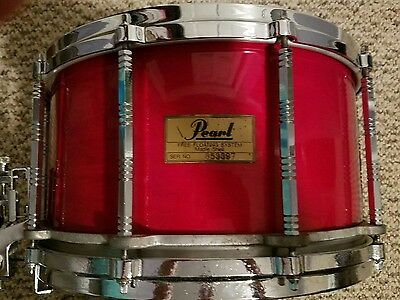 """Pearl Maple FREE FLOATING 8""""X14"""" DEEEP snare drum! RED LACQUER $$"""