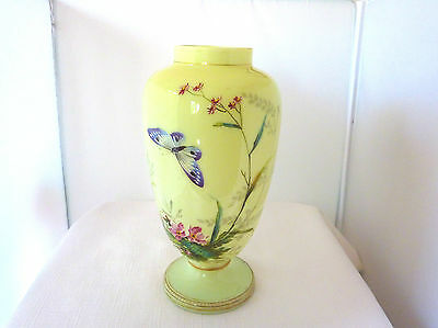Uranium Antique Hand Painted Enamel Vase