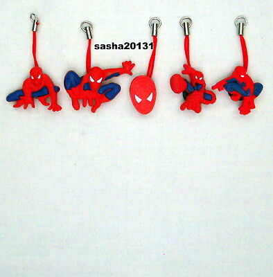 5 Spiderman  Themed Zipper Pull Charms,brand New