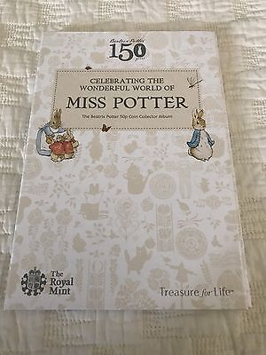 2016 Beatrix Potter 50p Collectors Album & 3 50p Coins