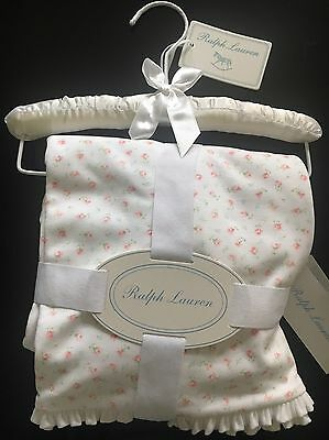 BNWT Ralph Lauren Baby Girls' Floral Cotton Blanket on Padded Hanger