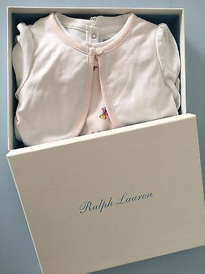 GIFT BOX BNWT Ralph Lauren Baby Girls 3 piece teddy bear pink white outfit 6M