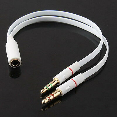 New Any 3.5mm Female to 2 Male Headphone With Mic Audio Y Splitter Cable MX