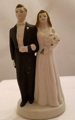 Bride and Groom Figurine - bisque - hand painted - made in occupied Japan