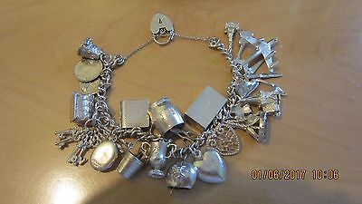 Antique Solid Silver Charm Bracelet