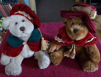 2 X Russ Berrie Bangles Christmas Winter Teddy Bears Soft Stuffed Plush Toy