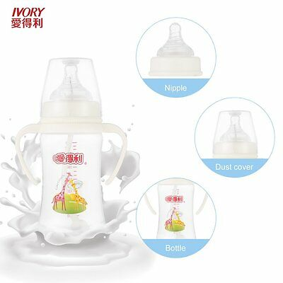 IVORY PP Baby Feeding Bottle With Straw/Handle Wide-neck Baby Bottles 240ml MX