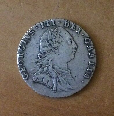 1787 George III Early Milled Silver Sixpence, Hearts, Excellent Coin