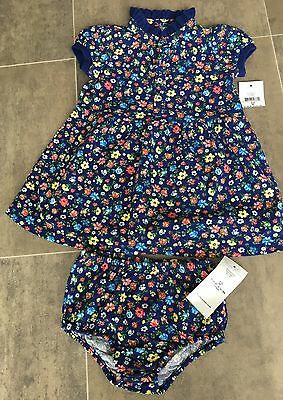 BNWT Ralph Lauren baby girl's blue floral dress and knickers set Age 3M