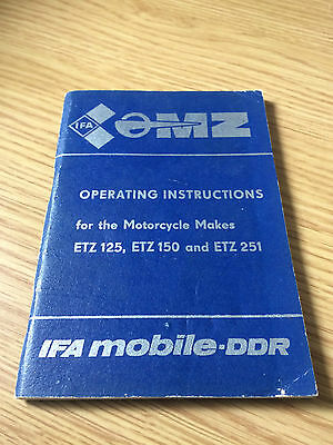 1988 Mz Etz 125 150 251 Operating Instructions Book