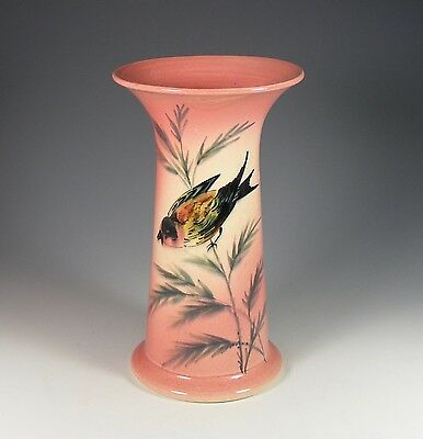 Antique Ault Art Pottery Vase With Finch