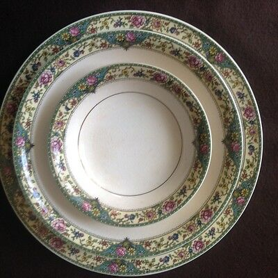 KT&K Antique Ivory 4pc plate set  fine china plate bowl saucer