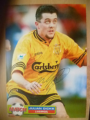 100% Genuine Hand Signed Press Cutting of Liverpool FC Player - JULIAN DICKS