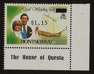 "1983 Montserrat Surcharge $1.15 on $3 ""ERROR"" Royal Wedding, Charles & Diana MNH"