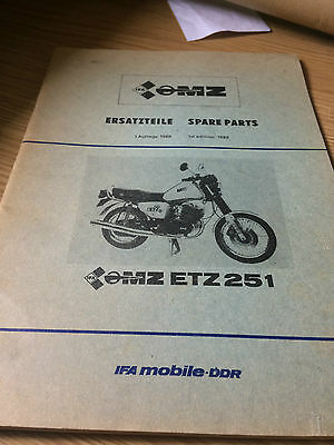1989 Mz Etz 251 Factory Issue Spare Parts List