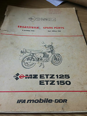 1985 Mz Etz 125 150  Factory Issue Spare Parts List
