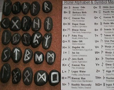 DARK GREY Black Natural Runes  24 Rune Stones Set & Bag Pouch - Wiccan Futhark S