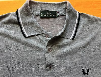 Fred Perry mens Polo Shirt Size M Grey White Blue twin tipped