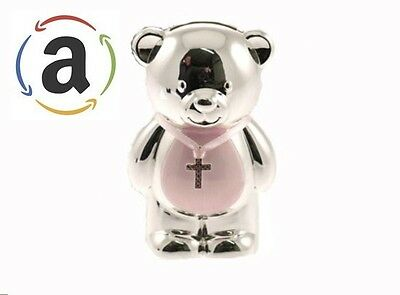 Christening Gift Silver Plated Pink Enamelled Teddy Money Box Baby Girl