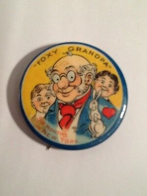 Vintage 1920's Foxy Grandpa Six Months in New York Pin Back Button