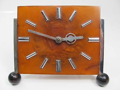 VINTAGE 1930s CATALIN BAKELITE DESK EIGHT DAY CLOCK WORKING SIMICHROME TESTED