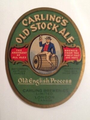 Rare 1930's Carling's Old Stock Ale London,Canada Label