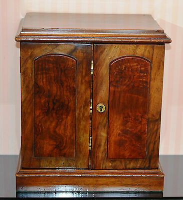 Antique Victorian Figured Walnut Table Top Collectors Cabinet /Jewellery Box