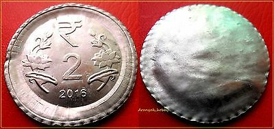 INDIA 2 RUPEES FSS RARE ERROR COIN - UNI-FACE with LARGE FLAN !
