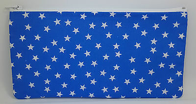 Blue and White Stars Fabric Handmade Pencil Case Make Up Bag Storage Pouch