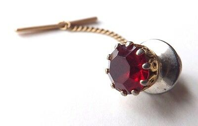 Vintage Tie Pin Tack Gold Tone Setting with Red Faceted Glass Crystal FREE P&P