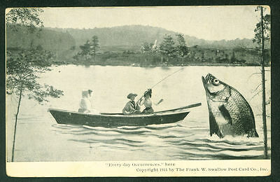 EXAGGERATED FISH Maine Man and Women in Boat Fishing 1912 Postcard