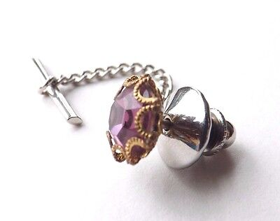 Vintage Tie Pin Tack Gold Tone Setting with Purple Cut Glass Crystal FREE P&P